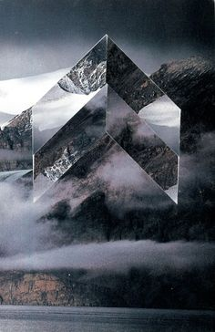 Collages. Liam Wylie. La montagne à l'envers. #ovni #chevrons…