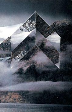 Collages. Liam Wylie. La montagne à l'envers. #ovni #chevrons…