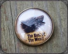 Western/Country brooch with a wolf, 20mm cabochon Western/Country Brosche mit einem Wolf unter 20mm Cabochon