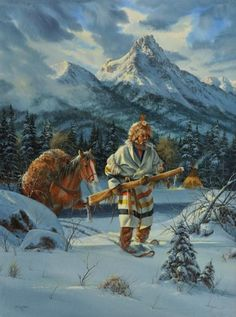 The art of Mountain Man Rocky Mountains, Mountain Man Rendezvous, Hunting Art, Fur Trade, Into The West, Cowboy Art, Saint Jean, Le Far West, Cool Paintings