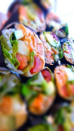 New You Recipe - Veggie Nori Wraps: 2 large sheets nori  1/2 avocado, sliced thin  1/4 cucumber, peeled and sliced in thin strips  1/2 carrot, peeled and sliced in thin strips  1 tablespoon sesame seeds  Wrap all ingredients in the nori and roll up! Dip in gluten free tamari.