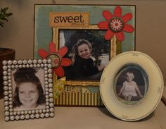 Sweet display of Great Grandmother's childhood photos next to their great granddaughter!