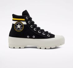 Lugged Varsity Chuck Taylor All Star Black/Amarillo/Egret Cute Shoes, Me Too Shoes, Trendy Shoes, Platform Sneakers, High Top Sneakers, Sneakers Fashion, Fashion Shoes, Kawaii Shoes, Baskets