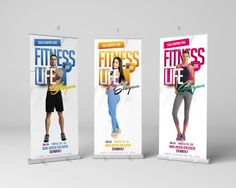 design Fitness,Gym Themed Retractable,Roll Up,Pop Up,Backdrop Banner - Graphic Templates Search Engine Pull Up Banner Design, Standing Banner Design, Roll Up Design, Gym Banner, Pop Up Banner, Banner Backdrop, Banner Ideas, Signage Design, Brochure Design