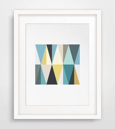 Teal and Mustard Geometric Triangle Wall Art, Yellow and Blue Triangles, Geometric Wall Print, Colorful Wall Art, Mustard Printable Wall Art by MelindaWoodDesigns on Etsy https://www.etsy.com/listing/193341158/teal-and-mustard-geometric-triangle-wall
