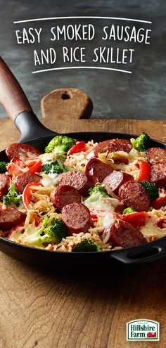 Used bratwurst instead fresh broccoli for fun, new, and delicious ways to use Hillshire Farm® Smoked Sausage? Our Easy Smoked Sausage and Rice Skillet recipe made with Success Rice® is super easy to make. and super tasty too! Sausage Skillet Recipe, Smoked Sausage Recipes, Skillet Meals, Pork Recipes, Cooking Recipes, Recipies, Sausage Rice, Bratwurst Recipes Skillet, Smoked Sausages