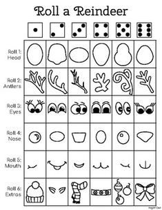 Fun drawing activity for students of all ages. Roll then draw each part of your very own reindeer ch Drawing Games For Kids, Drawing Activities, Art For Kids, Crafts For Kids, Christmas Art, Winter Christmas, Christmas Tables, Nordic Christmas, Modern Christmas