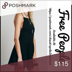 """❗️1-HOUR SALE❗️FREE PEOPLE TUNIC SLIP DRESS 💟NEW WITH TAGS💟  SIZING- M = 8-10 FREE PEOPLE SLIP DRESS   * Racerback w/drawstring thin straps   * Square neck, crochet trim & ruffle hem   * Woven fabric   * Approx 33"""" long; A-line  * Pullover style   * Relaxed fit   Material: 68% Cotton, 32% Linen; 100% Cotton Lined  Color: Black Item#FP9500 semi-backless  shirt dress sheath shift A-line 🚫No Trades🚫 ✅ Offers Considered*✅  *Please use the blue 'offer' button to submit an offer Free People…"""