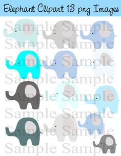 Elephants Digital Clip art INSTANT DOWNLOAD Gray by BridalBust, $3.00