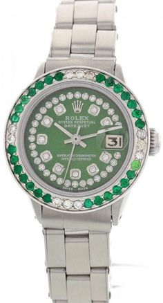Rolex Oyster Perpetual DateJust Stainless Steel & Diamond & Emerald Watch