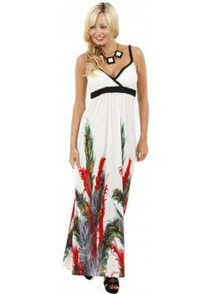 Plaited Strappy Feather Print Ivory Maxi Dress