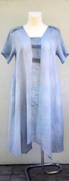 linen plus size dress blue lace unique hand dyed woman