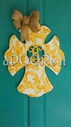 Love this yellow demask cross with letter cut out!