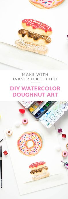 Learn the art of creating a DIY watercolor doughnut illustration in this tutorial - Inkstruck Studio