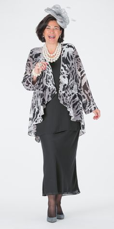 Box 2 black/grey chiffon print jacket, vest and skirt at Box 2