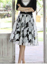$10.06 Floral Print Sweet Style Voile High Waist Skirt For Women