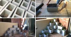 DIY Succulent Planter Using Cinder Blocks - Create your own inexpensive, modern and fully customizable DIY outdoor succulent planter using cinder blocks, landscaping fabric, cactus soil, and succulents. Succulent Planter Diy, Succulent Landscaping, Diy Planters, Backyard Landscaping, Succulents, Cinder Block Garden, Cinder Blocks, Suculentas Diy, Garden Architecture