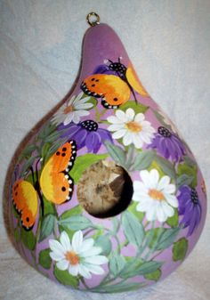 Coneflowers, Butterflies, Daisies Hand Painted Gourd birdhouse Mother's Day Gift