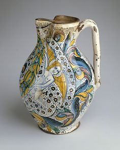 Armorial Jug (boccale) Date: ca. 1470–80 Medium: Maiolica (tin-glazed earthenware) Dimensions: H. 14 13/16 in. (37.6 cm) Classification: Ceramics-Pottery Credit Line: Robert Lehman Collection, 1975 Accession Number: 1975.1.1067 On view in Gallery 950