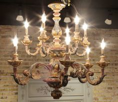painted chandelier | Vintage Italian Chandelier in Painted Wood with Blue Rust and Gold ...