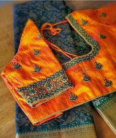 Silk Saree Blouse Designs, Fancy Blouse Designs, Bridal Blouse Designs, Aari Embroidery, Hand Embroidery Designs, Embroidery Works, Churidhar Designs, Simple Designs, Hand Work Blouse Design