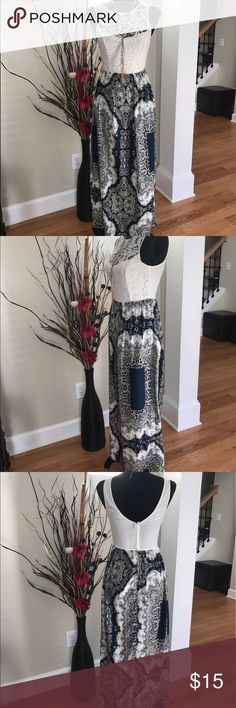 """🌺Crochet Top Maxi Dress 🌺👗 🌺 Beautiful Crochet Maxi Dress 👗 Classy and beautiful!!!!Size:XS - It's 53"""" long. In excellent condition!!! Top bust: 56% polyester 43%cotton 1% spandex - skirt: 100% polyester Charlotte Russe Dresses Maxi"""