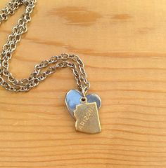 My Heart's in Arizona Necklace Stainless Steel Silver Heart & Antiqued Brass Stamped Charm on Etsy, $17.00
