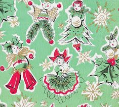 Vintage Gift Wrap Christmas Dolls by hmdavid, via Flickr