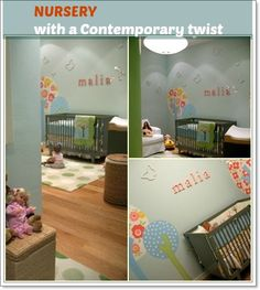 An adorable nature inspired contemporary baby girl's nursery that oozes of style and uniqueness. This nursery shows how to bring the freshness of the outdoors into a baby's room to create a contemporary space. The baby's name spelled out in letters and the butterflies scattered around the soft grey coloured walls adds panache to the nursery.