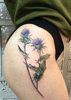 Vanessa Core thistle flower tattoo