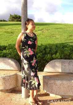 Midnight Black Hana Aloha Hawaiian Dress