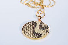 medallion 50 mm high fashion leather PYTHON  genuine