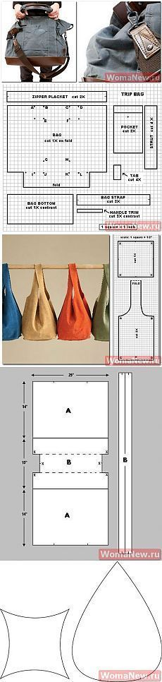 Patterns for a number of simple bag shapes #sewing #handbag