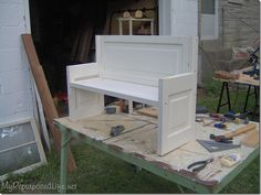door into bench - I've been looking for something to do with an old door...This is fantastic!