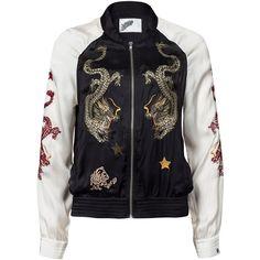 Non Sense Silk Bomber Jacket (1.090.070 COP) ❤ liked on Polyvore featuring outerwear, jackets, washed black, womens-fashion, flight jacket, thin jackets, blouson jacket, embroidered jacket and black jacket