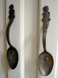 Repurposed Vintage Flatware - silver or silver-plated flatware used as cabinet hardware is a creative and inexpensive alternative when looking to update your kitchen. Via hutch studio