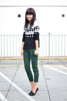 Knit: Mango / Printed trousers: Zara / Studded loafers: Topshop
