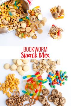 Bookworm Snack Mix is the perfect snack to eat while reading a book., Bookworm Snack Mix is the perfect snack to eat while reading a book. Mix together your favorite sweet and salty treats for this easy mix. Book Club Snacks, Class Snacks, Classroom Snacks, Snacks For Work, Lunch Snacks, Yummy Snacks, Clean Eating Snacks, Snacks Kids, Healthy Snacks