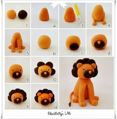 Get 7 DIY Polymer Clay Animals Photo Tutorials. Some will include a video demonstration. Lions For Kids, Animals For Kids, Lion Cakes, Polymer Clay Animals, Fondant Figures, Polymer Clay Projects, Cute Diys, Rubber Duck, Clay Art