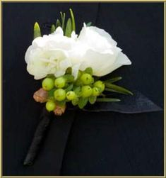 white and green boutonniere More