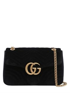 GUCCI - MEDIUM GG MARMONT 2.0 QUILTED VELVET BAG - SHOULDER BAGS - BLACK - LUISAVIAROMA - Height: 19cm Width: 31cm Depth: 7cm . Single shoulder strap: 55cm. Doubled shoulder strap: 30cm. Metal chain shoulder strap can be worn single or doubled. Front flap with snap button closure . Metal logo detail . One internal zip pocket . One internal patch pocket