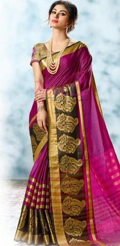 Plain Monika Cotton Sari Magenta Gold Jari Border ND1138DShalom