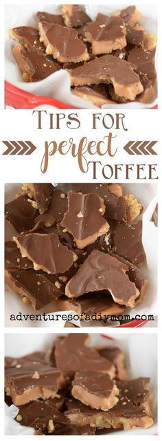 Tips for perfect homemade English toffee. Learn how to create crisp, buttery sweet toffee. Learn how to prevent chewy toffee and butter separation. Fudge Recipes, Sweets Recipes, Candy Recipes, Just Desserts, Delicious Desserts, Cookie Recipes, Brittle Recipes, Awesome Desserts, Yummy Recipes