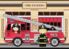 Female Fireman and Fire Engine Scene