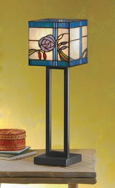 Blue Rose Stained Glass Lamp - Acacia
