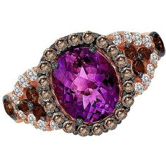Le Vian Chocolate Diamond, Amethyst, Chocolate Quartz, Vanilla Topaz... ($1,175) ❤ liked on Polyvore featuring jewelry, rings, purple, rose gold jewelry, 14k ring, chocolate rings, rose gold amethyst ring and amethyst ring