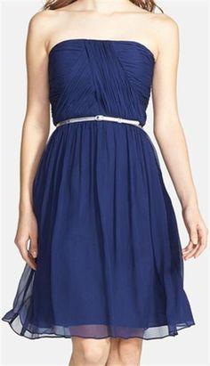 Donna' Belted Chiffon Dress