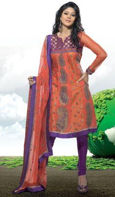 Orange Purple Net Crepe Designer Indian Salwar Kameez