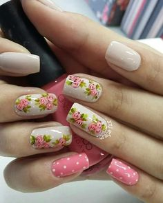 Nail Designs Spring, Gel Nail Designs, Cute Spring Nails, Cute Nails, Nail Art Techniques, Short Nails Art, Glitter Nail Art, Flower Nails, Stylish Nails