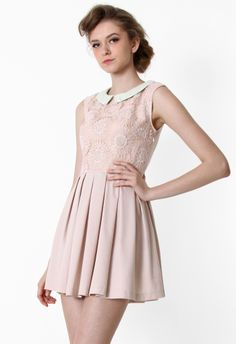 Peach Floral Embroidered Peter Pan Collar Dress - Party - Dress - Retro, Indie and Unique Fashion